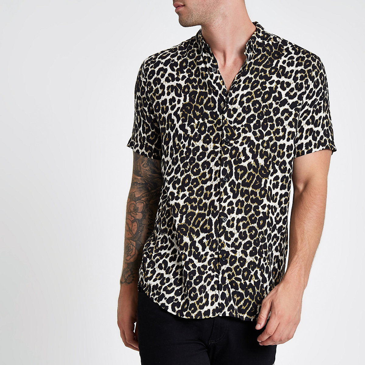 2019 Latest Shirt Designs For Men Leopard Print Short Sleeve With Factory Price