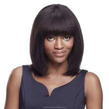 straight brazilian bang human hair wig