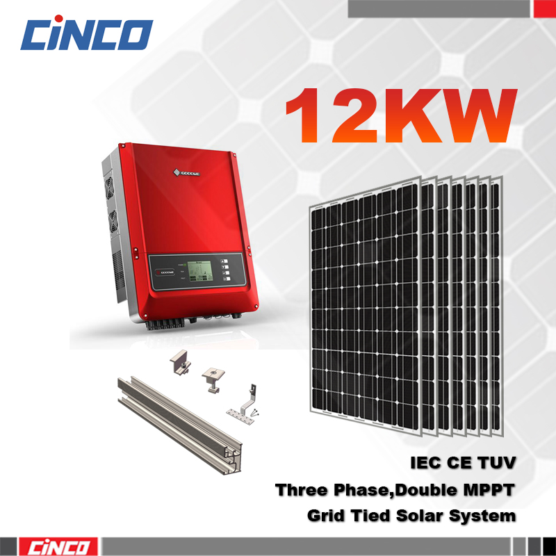 Rooftop solar power on grid 12KW alternative solar energy systems for home and commerical
