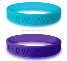 Teal and Purple Silicone Awareness Wristband Bracelet
