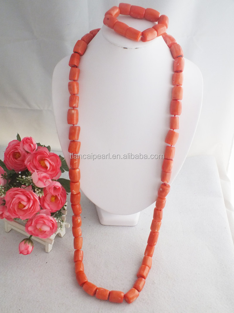 A-1758 Nigerian Coral Beads Jewelry Necklace For men