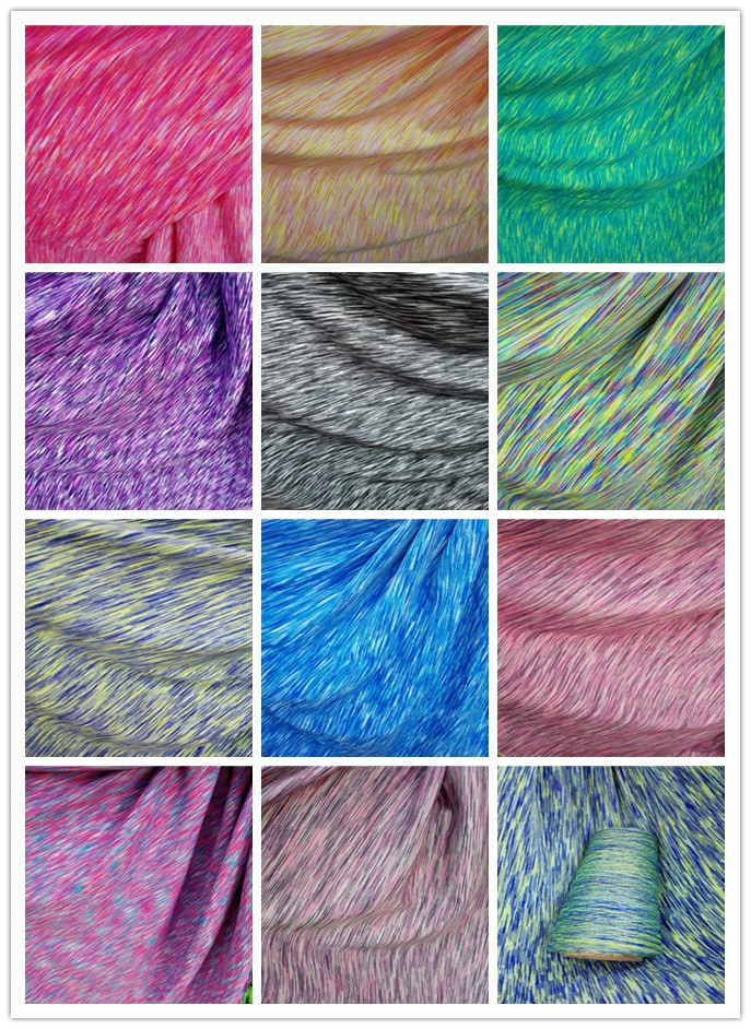 Space dyed yarn moisture wicking fabric by the yard for for Space dye knit fabric by the yard