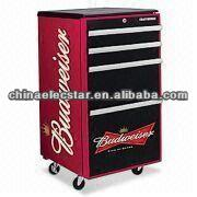 Budweiser Moveable toolbox fridge/ small retro style refrigerator/ Safe fridge/beverage cooler, with 4 wheels and lock