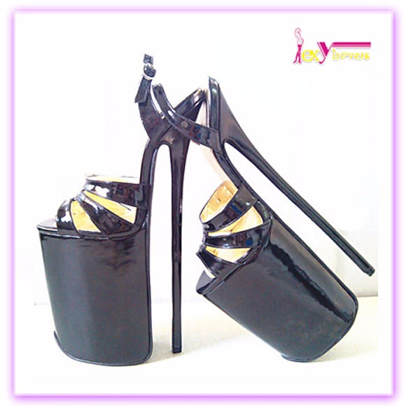 2016 New design open toe with ankle band models shoes women lady 30cm sexy very high heels fashion girls pump