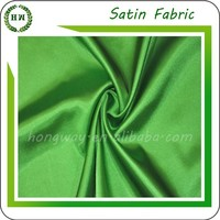 Hongway Newly thick shiny apple green satin, Cheap satin cheap price Polyester satin fabric for garmen
