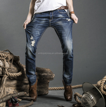 New Model Men Vintage Ripped Motorcycle Denim Skinny Biker Trousers Jeans