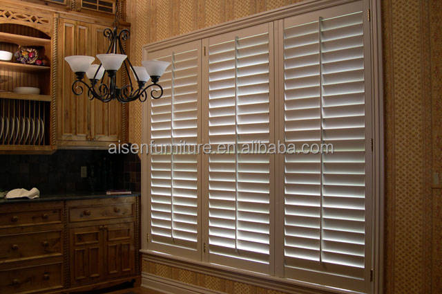 Window Venetian Security Shutter interior White PVC /Vinyl Plantation Shutter From Aisen
