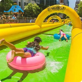 Long Inflatable Water Slide City / Custom The City Slide Inflatable Slip N Slide for Summer