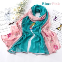 LINGSHANG 2015 stock wholesale gril dress embroid silk feel polyester scarf