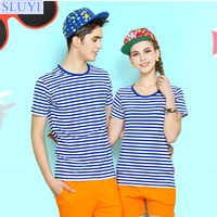 newest design love couple t shirt summer short sleeve tshirt men beach navy stripe onesie female couple t-shirt
