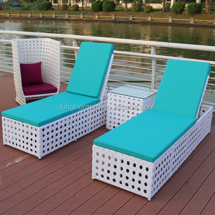 hot sale outdoor rattan beach lounger chairs hotel swimming pool furniture sun lounger white wicker chaise lounge for sale