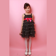 Chiffon off shoulder layered kids pageant girls polka dots dress