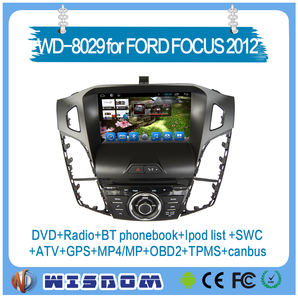 Hot for ford focus 2012 car dvd player, car gps navigation android for ford focus 2012 support bluetooth SWC ipod TMPS car radio
