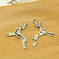 Have stock 24x24mm DIY antique silver deer alloy charm pendant animal charm