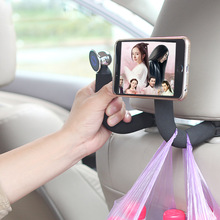 Wholesale Car Handrail ABS 360 rotation Universal Car Mount Backseat Headrest Hanger Hook with Magnetic Mobile Phone Holder