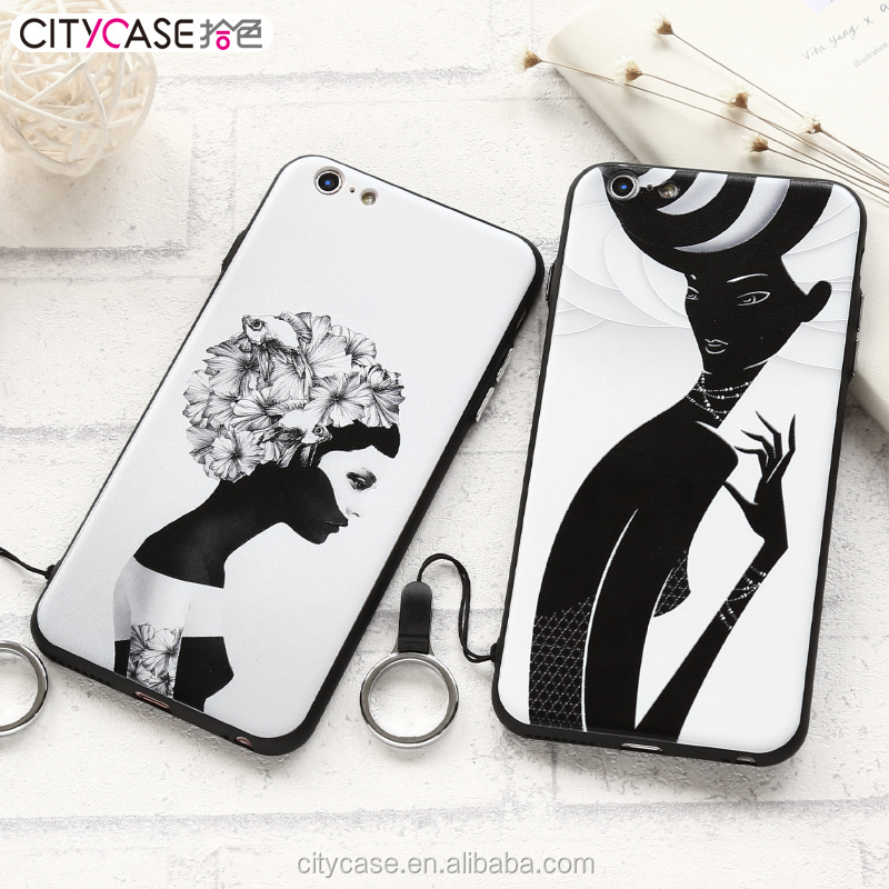citycase creative black white fashion girl design cover and accessories for phone for iPhone 6 6s plus 7 shockproof cover