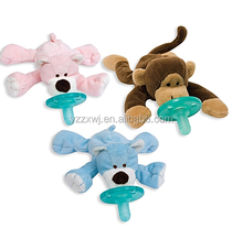 pacifier plush toy/holder coloured monkey dog stuffed animal toy/EN71 CE Standard Plush Infant Pacifier Toy