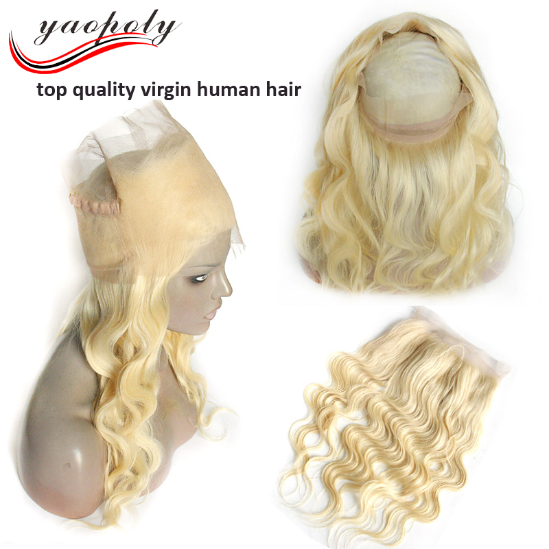 100% Human Hair Ear To Ear 360 Lace Frontal Closure blonde 360 lace frontal with bundles