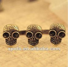 Retro Personality Double Ring Skull Head Open Rings