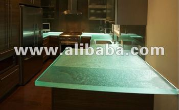 Custom fused glass countertops with color or transparent