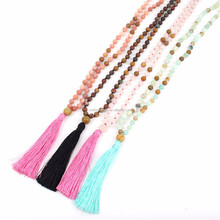 Long wooden bead catton tassel necklace wholesale