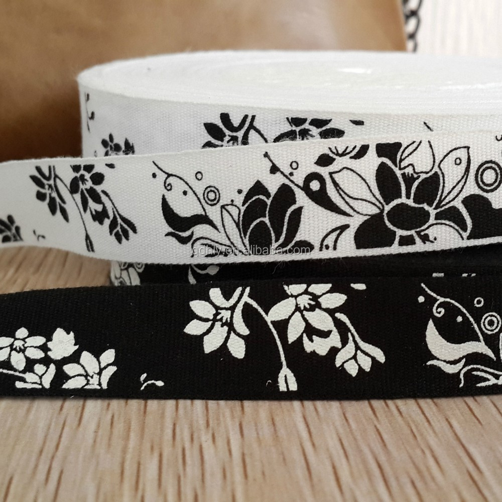 Super quality 100% printed cotton ribbon for washing label
