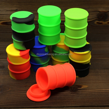 New Design adorable colors 26ml Silicone oil barrel matte/gloing silicone drum 57mmx40mm butane hash oil silicone container