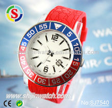 Metal watch case with bezel , silicone rubber watch straps, quartz watches