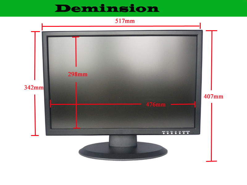 Wide screen monitor testing cctv quick response 22 inch high quality large cctv monitors