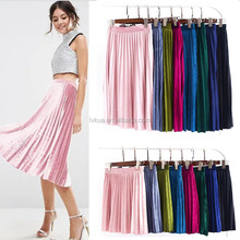 2017 Wholesale Spring Summer 8 Colors 2 Style Fashion Women Ladies Pleuche Material Pleated Skirt