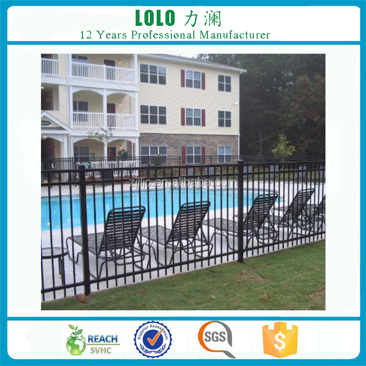 Wrought Iron Aluminum Steel Black Color Used Model Pool Fence