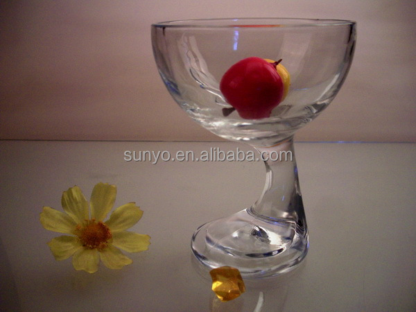 Handblown special shaped ice cream cup with foot stem customized glassware producer