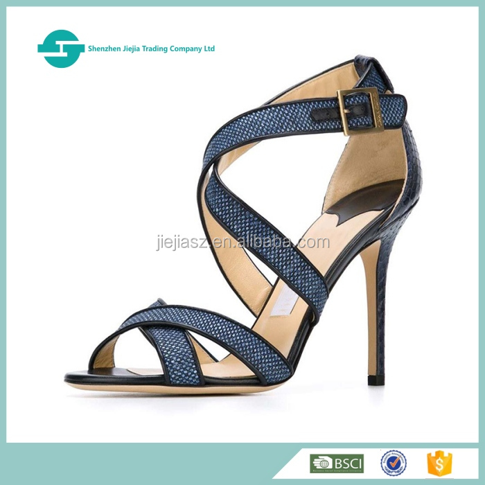 Latest design high heels shoes women cross straps lady sandal