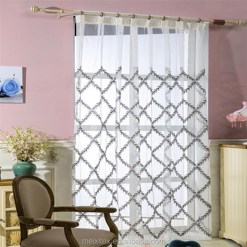 geometric embroidery design mesh fabric curtain,Curtains Manufacture Latest Embroidered Curtain Fabrics,Yiwu curtain