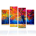 4 Pieces Abstract Painting on Canvas Fine Art Reproduction Forest Landscape Colorful Big Tree Wall Picture Home Decor/SJMT1965