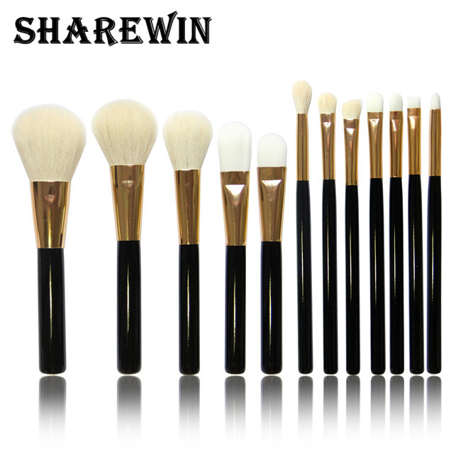 Popular products makeup brush set 12 pcs goat hair makeup brushes cheap makeup brush sets