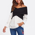 HL24267 tops for ladies fashion clothing two tone cross wrap custom crop top