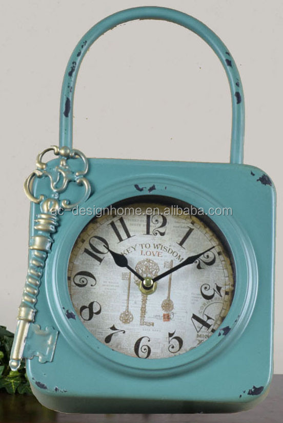 ANTIQUE GREEN METAL LOCK AND KEY SHAPE TABLE TOP CLOCK