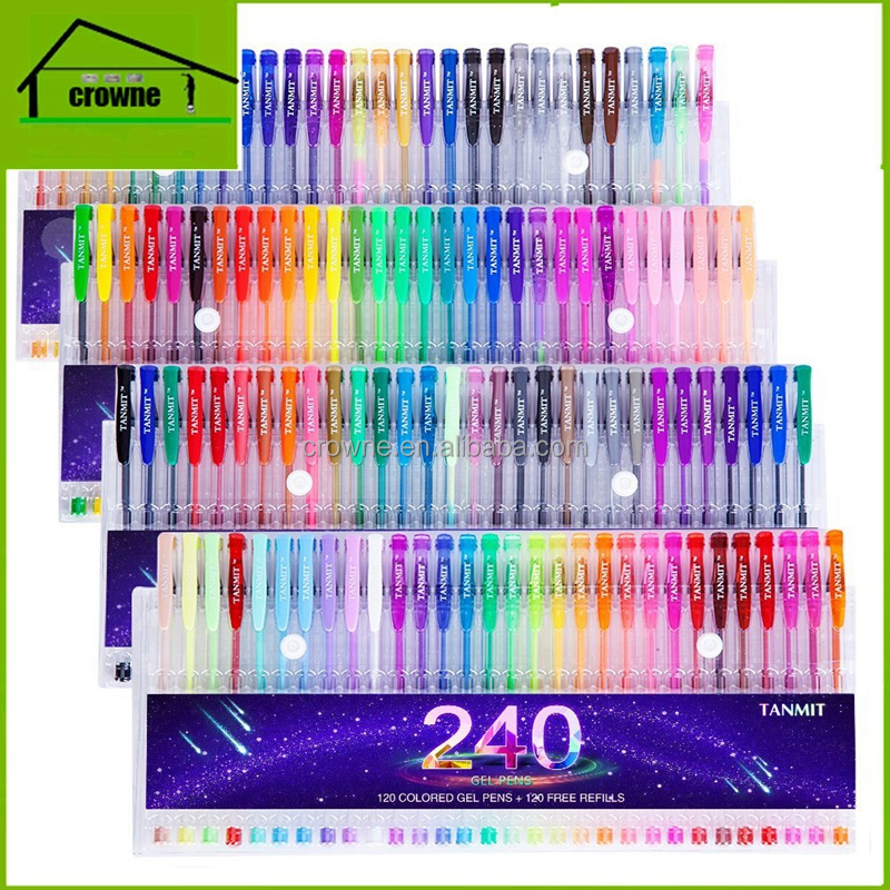 New Arrival 120 Gel Pens with Case Extra Large Set 120 Unique Colored Gel Pen + 120 Ink Refills