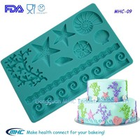 ocean theme cake decorating tools,fondant mold,fondant paste mat for cake