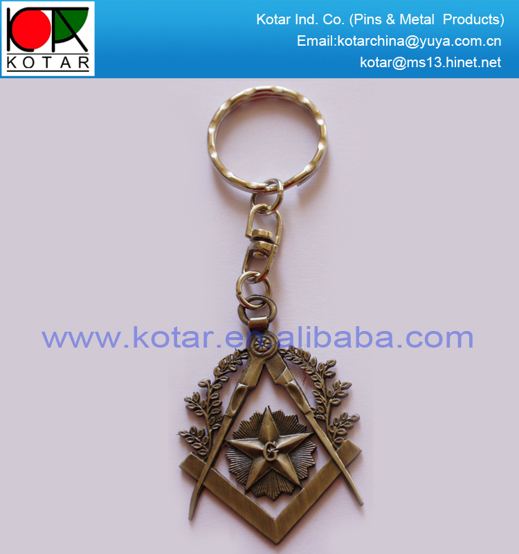 custom zinc alloy injection keychain with antique nickel plating