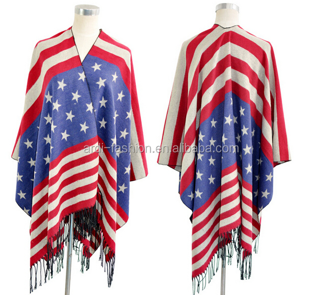 high quality fringed flag design women wool shawl