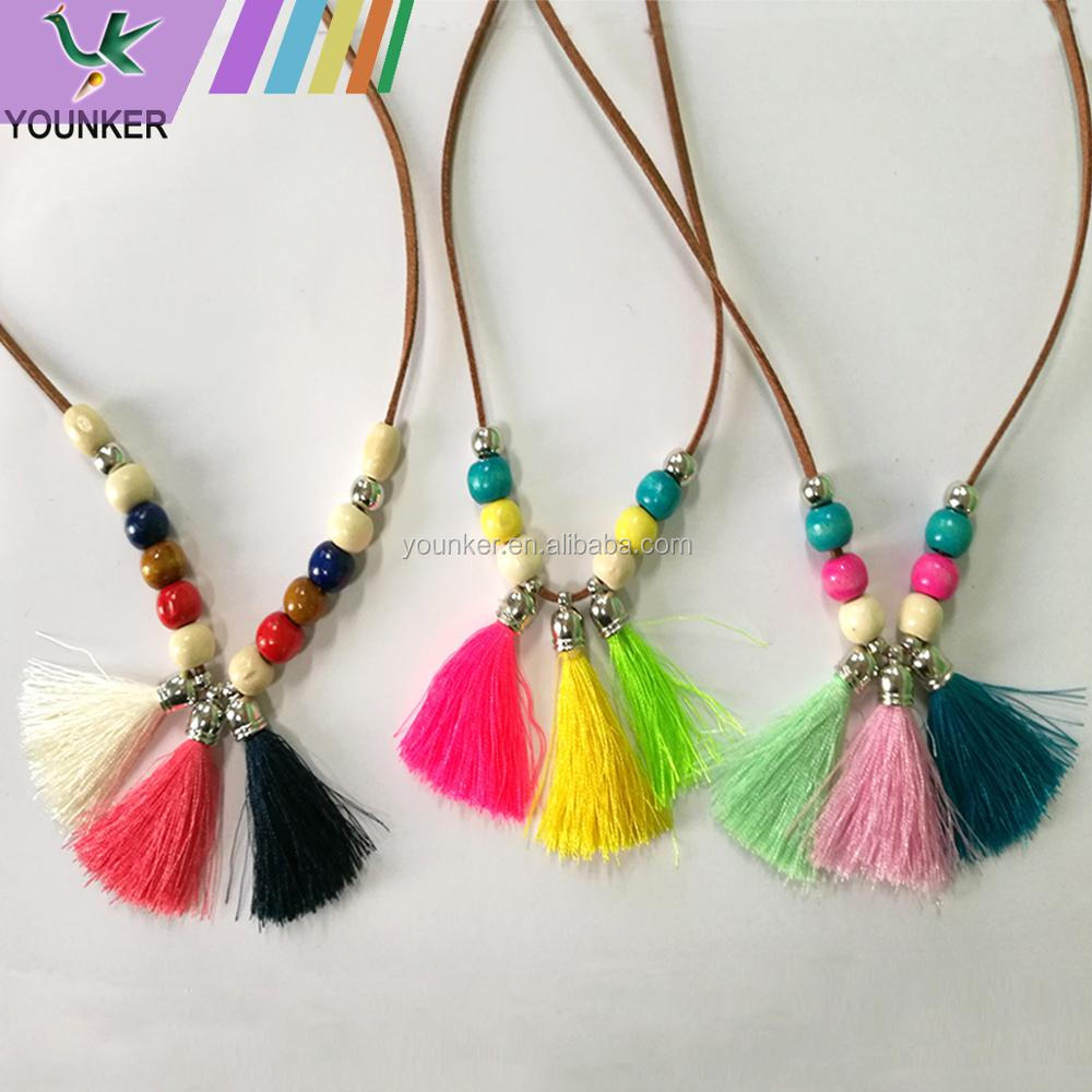 Hot sales wood beads tassel necklace fashion wooden silk tassel pendant necklace