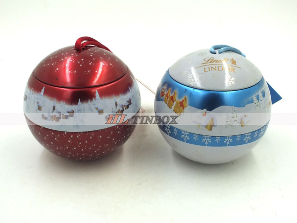 Christmas Metal Tin Ball with High End Printed