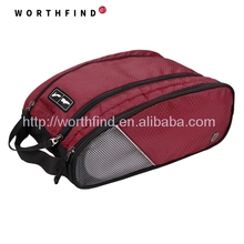 Red polyester travel shoe bag with double compartments with handle for sale