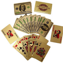 PVC 57X87mm waterproof Playing cards with color printing 24K Gold Foil Poker