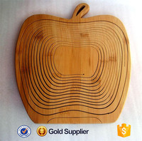 2016 high quality apple shape folding bamboo fruit basket