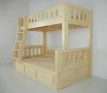 Solid Pine Wood Full Over Full Bus Bunk Bed With Safe Ladder & Protective Barrier