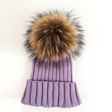 Myfur Elegant Lavender Color High Quality Slouchy Beanie With Detachable Real Raccoon Fur Bobble
