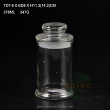 electroplated round glass storage bottle with glass lid 330ml